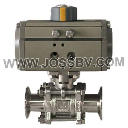 Sanitary 3-Piece Clamp Ball Valve With Actuator