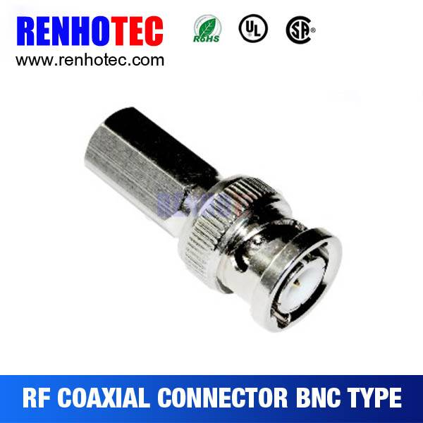 BNC type Plug connector twist on 75ohm crimp RG6