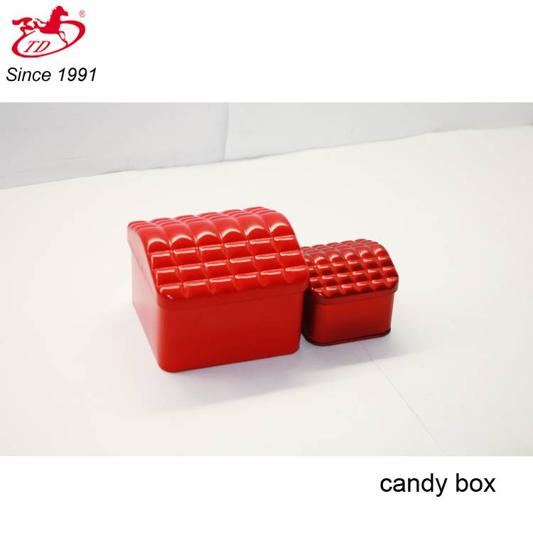 Small cute red candy/ chocolate tin box, tin can for wedding gifts