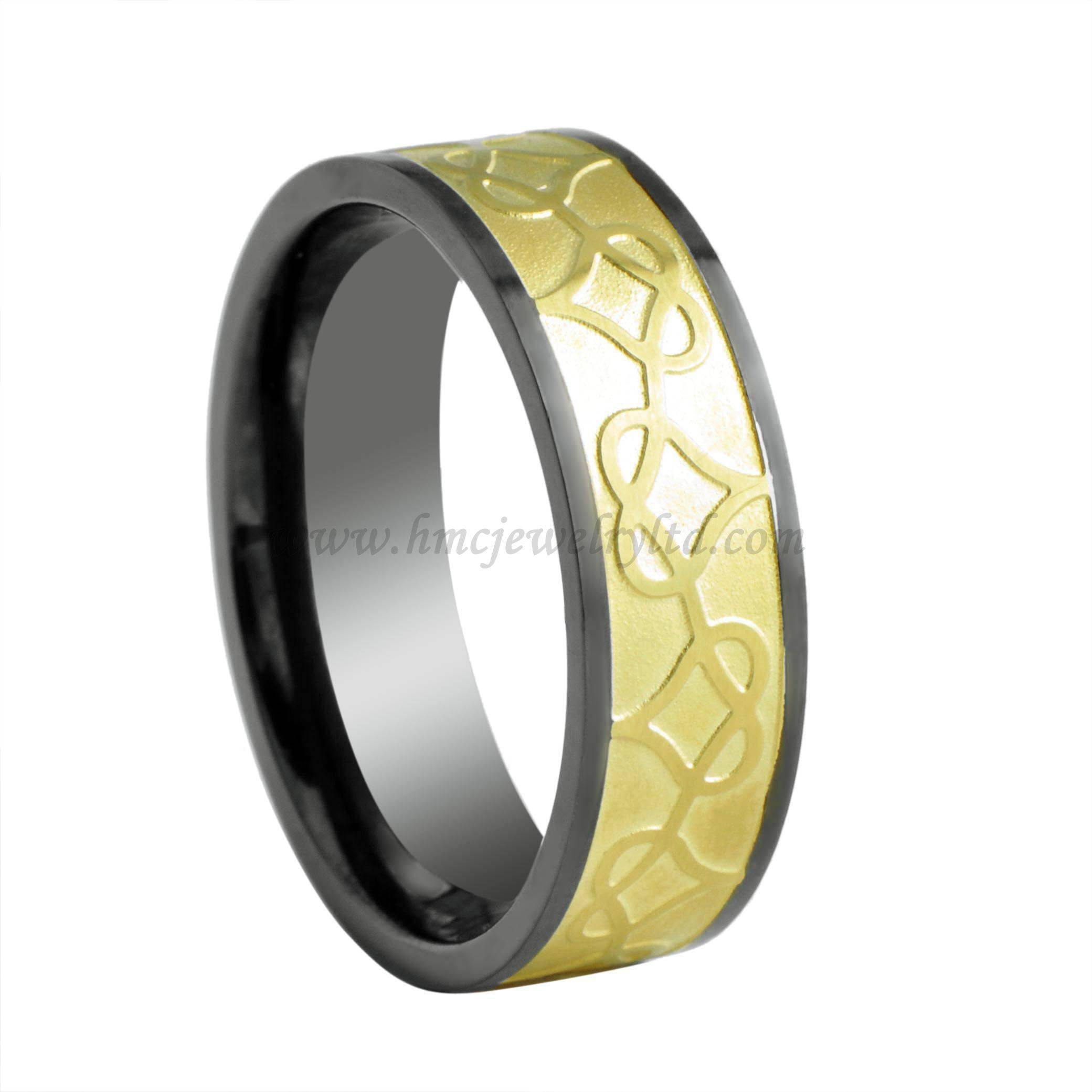 "Black & Gold Plated Titanium Rings Without Stones, Gold ""Heart Linked To Heart"" Ring Jewelry"