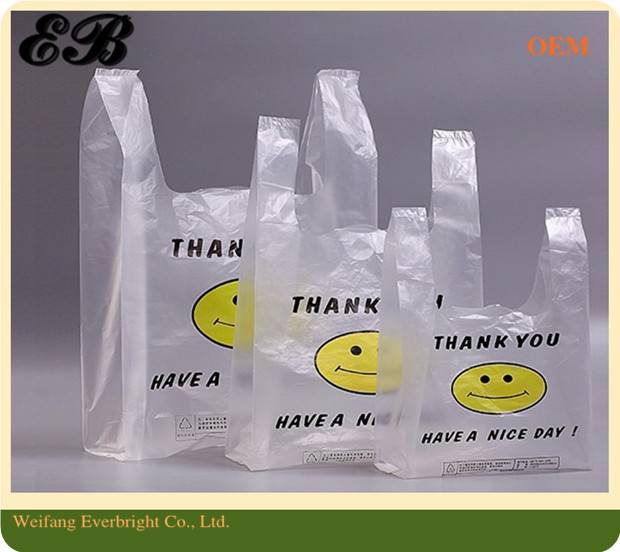 China Manufacturer Customer Printed Plastic T-shirt Bags for Shopping