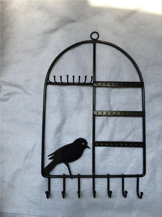 Black Metal Bird Cage Design Hanging Jewelry Rack w/ Cosmetics Tray, 2 Earring Organizer Bars & 7 Ho