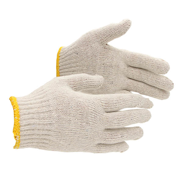 White cotton knitted gloves with high quality
