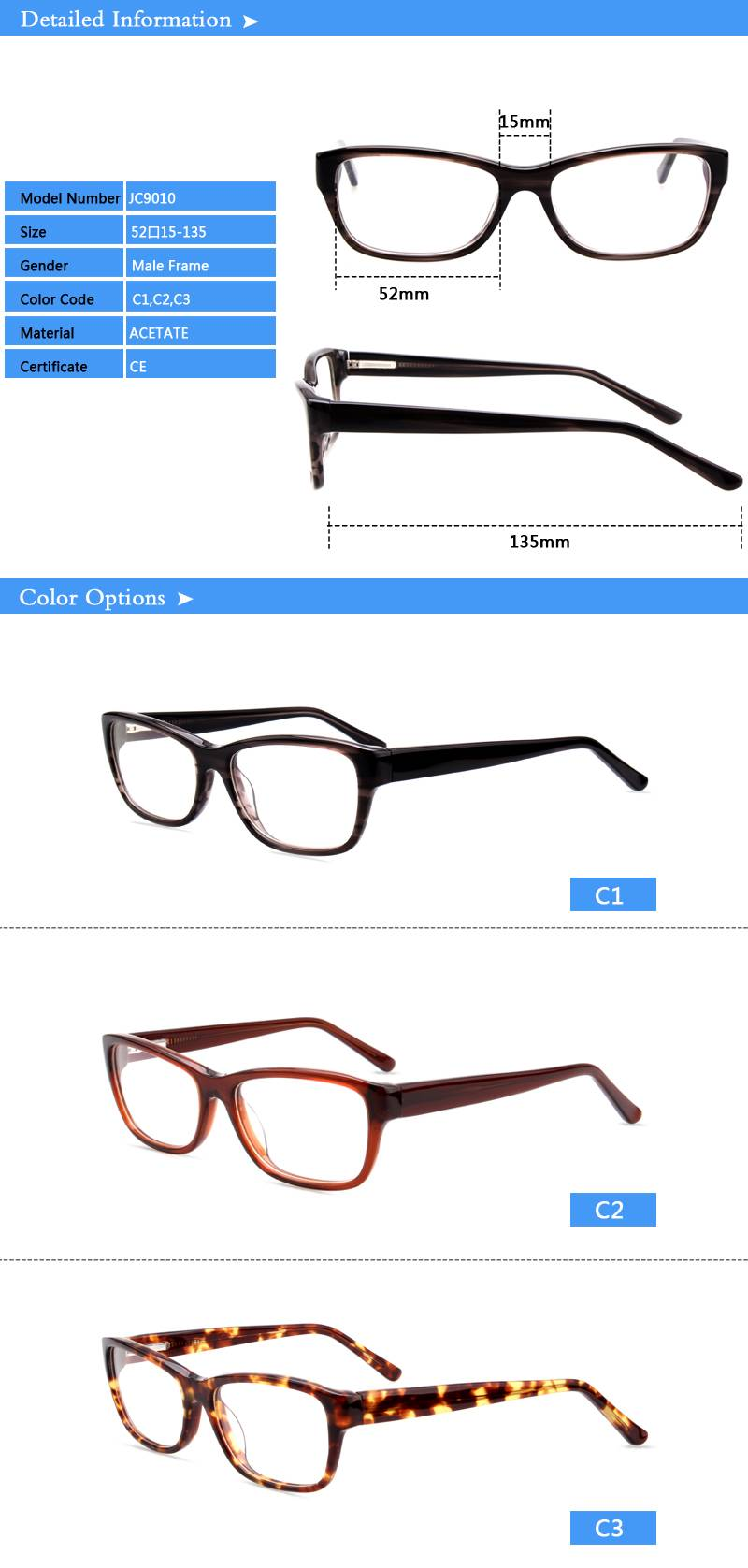 Fashion design acetate eyewear optical frame JC9010 ready in stock