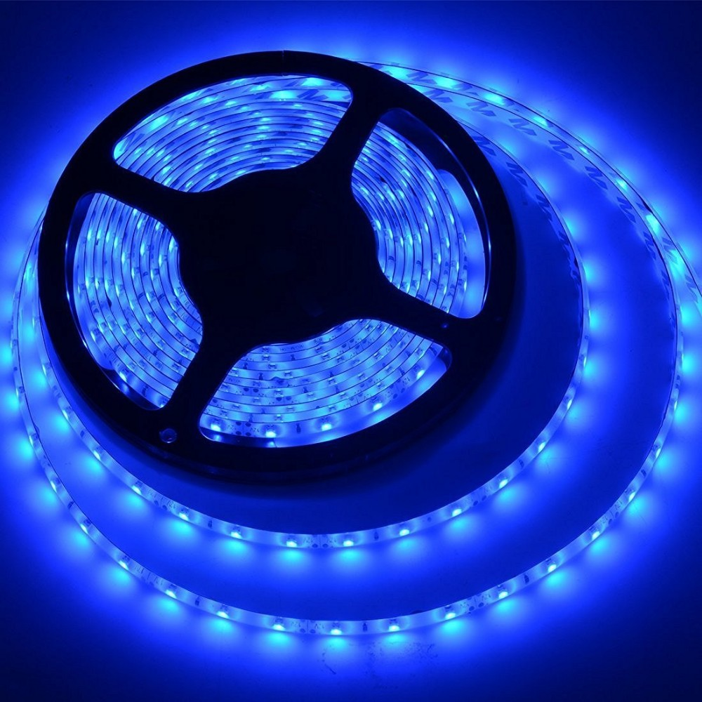 Flexible LED Tape Light Strip SMD 3528 16.4 Ft 5 Meter Waterproof IP65 300 LEDs 12V blue Flexible