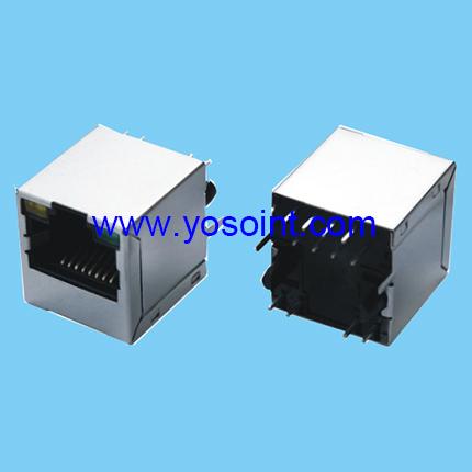 RJ45 connector Jack + Magnetics + LEDs straight solder
