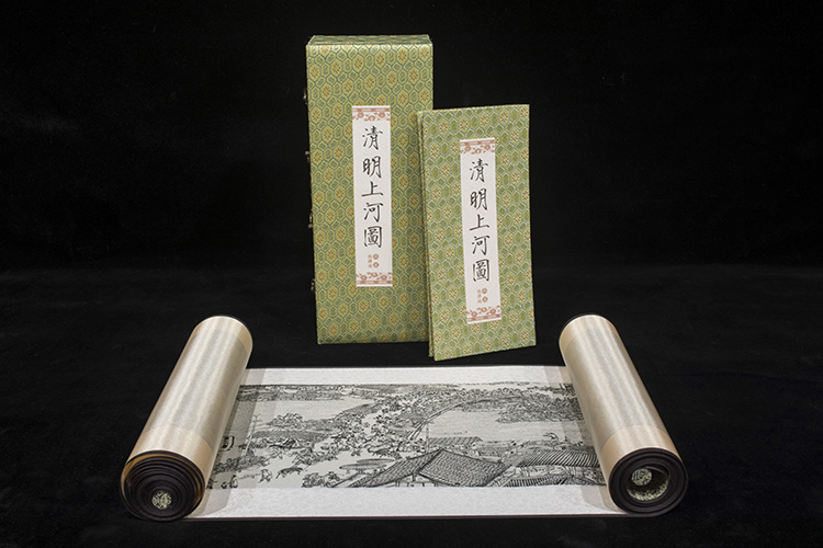 Along the River During the Qingming Festival- Chinese Silk painting,Chinese Silk,Business Gift, Meet