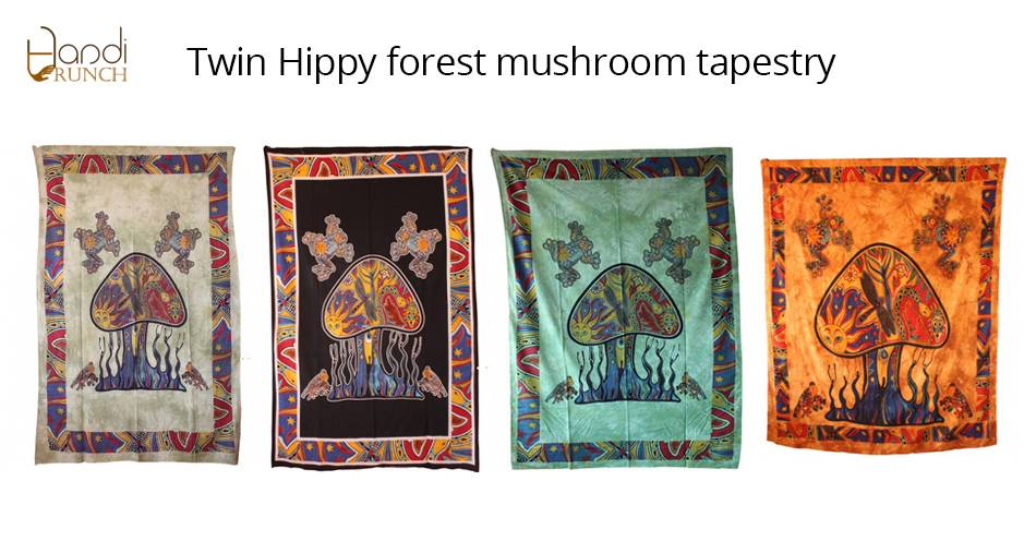 Handicrunch | Indian Printed  Mushroom Tapestry Wall Hanging