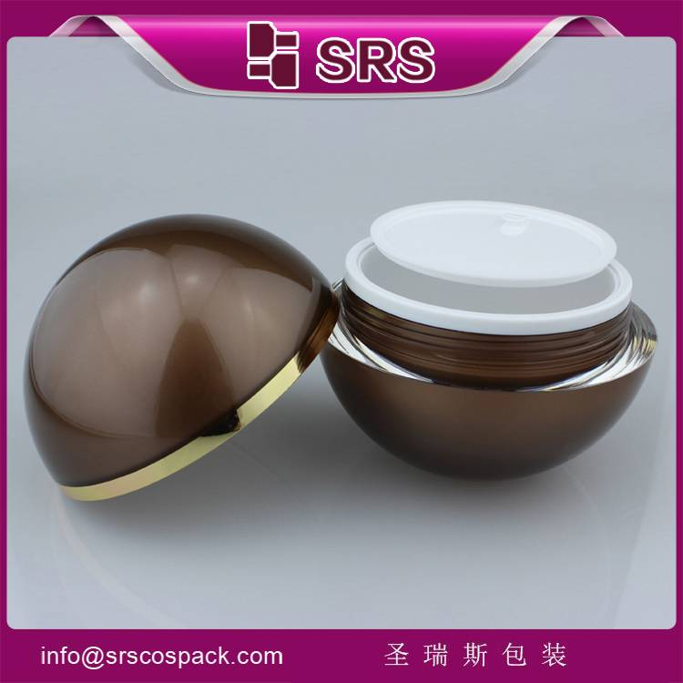 hot sale fanshion empty plastic cosmetic packaging cream jar acrylic material ball shape plastic bot