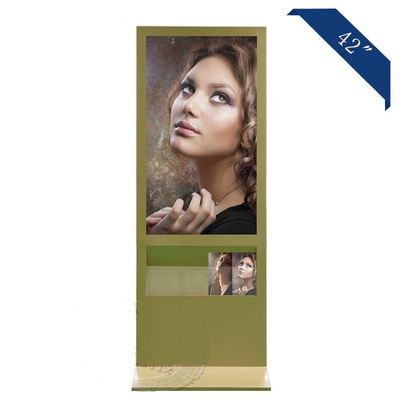 43 Inch Gold Advertising Display with magazine Rack