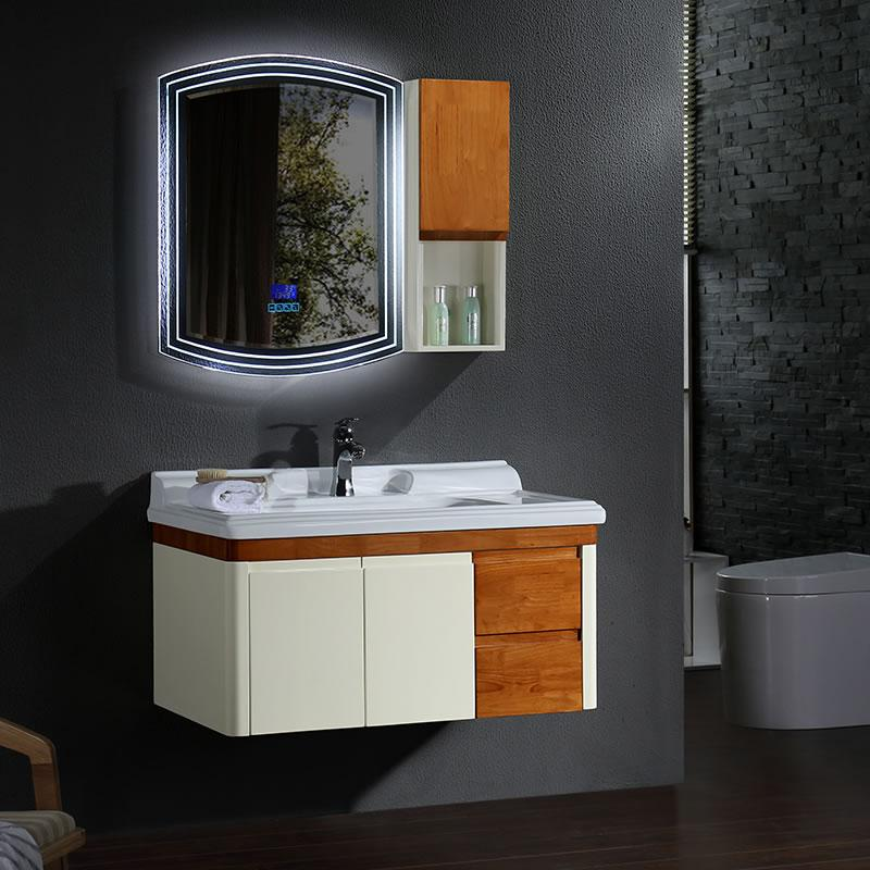 New style oak bathroom vanity with bluetooth music player and self suction slide