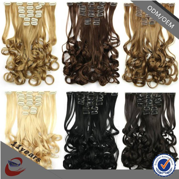 Perfect One Piece Clip in Human Hair Extensions , Different Types of Long Curly Clip in Human Hair E