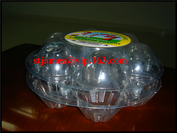 Economical strong transparent PVC 6 counts Round Egg Tray
