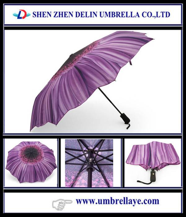 All auto open and close 3 fold flower style umbrella