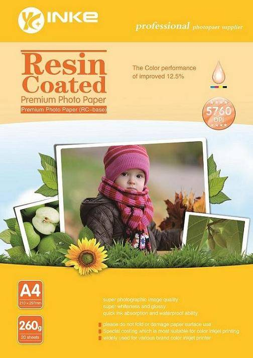 260G Resin Coated Premium Photo Paper With Waterproof Ability for Inkjet Printer