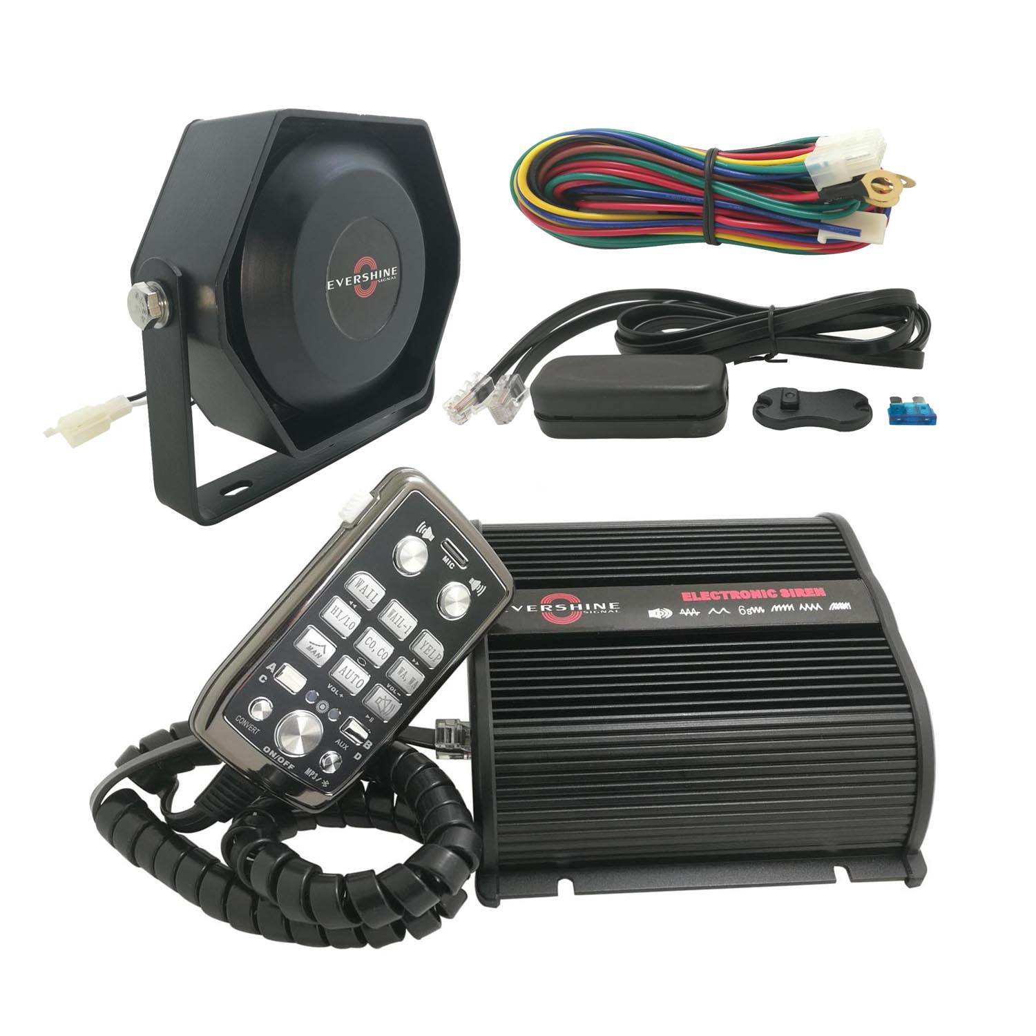 150W Police Siren Bundle with Speaker Remote Microphone Bluetooth Can Play Custom-made Sounds