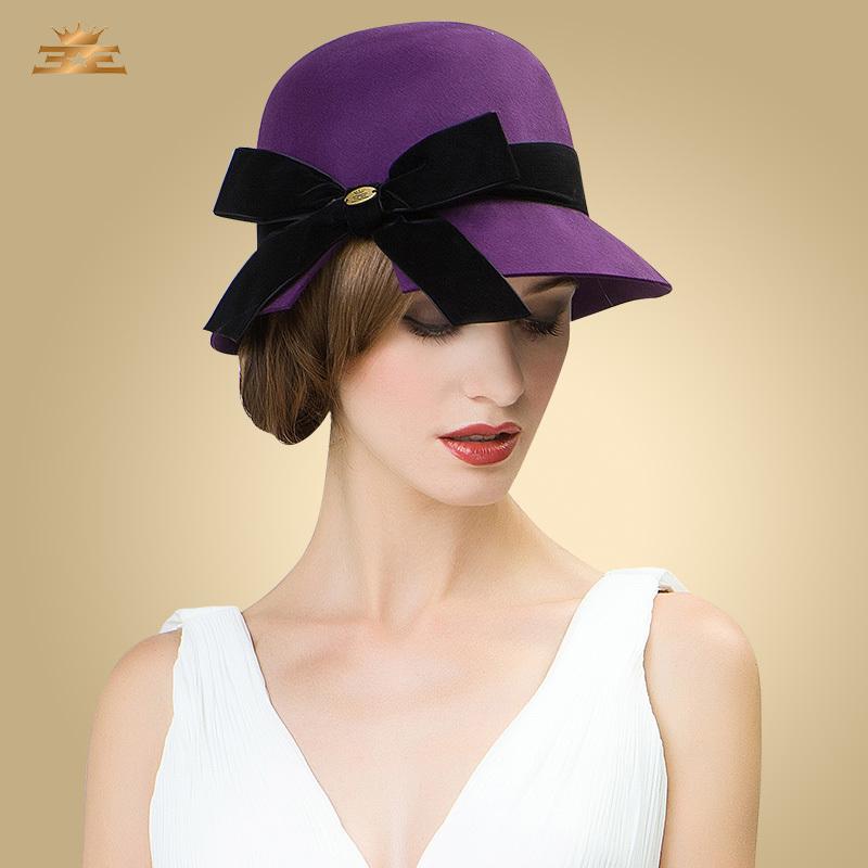 100% top quality wool felt winter girls fashion hat