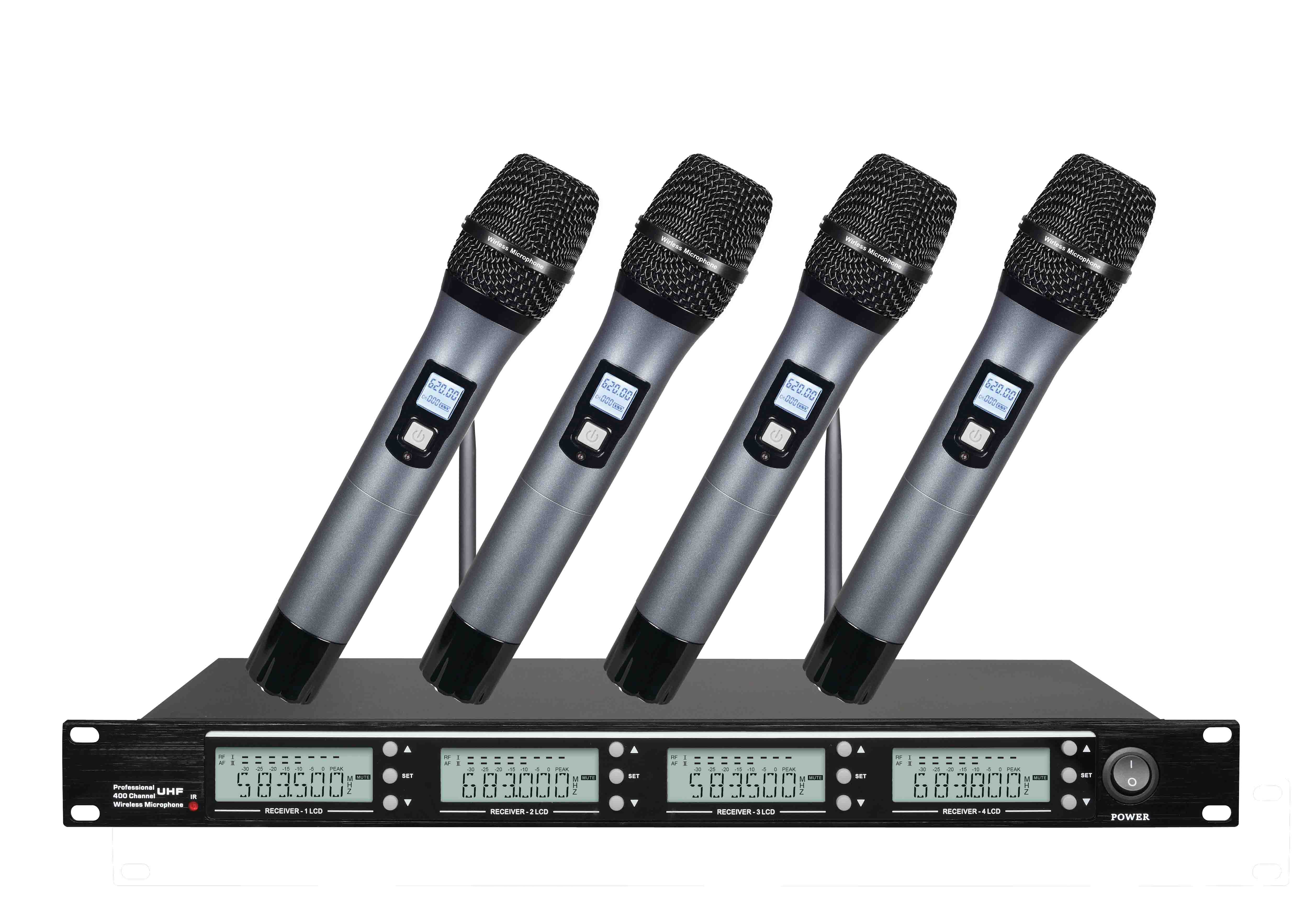 4 channel UHF wireless system handheld style microphone