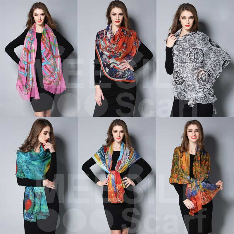 2017 New Arrival High Quality 100% Silk Scarf Ladies Fashion Scarf