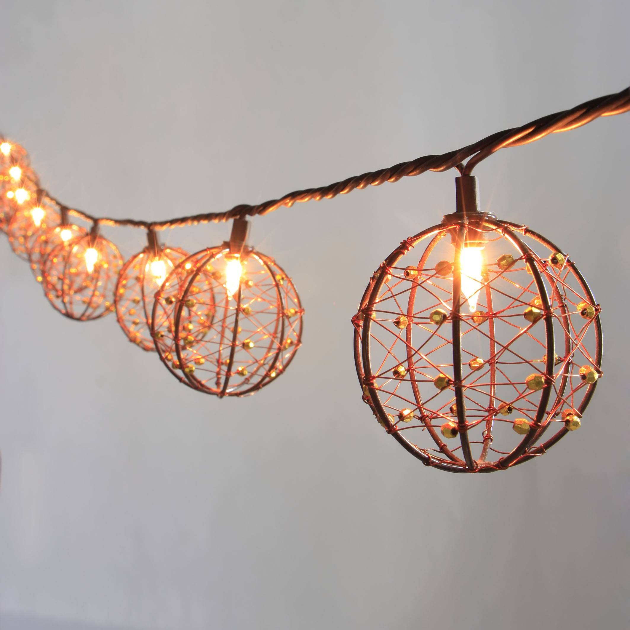 Beaded Copper Wire Ball string light KF01043