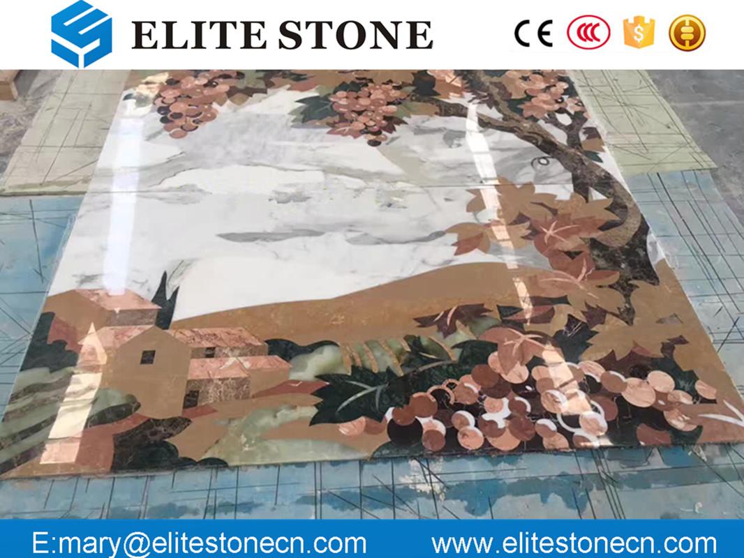 flower pattern medallion tile , floral design mural marble medallion for wall
