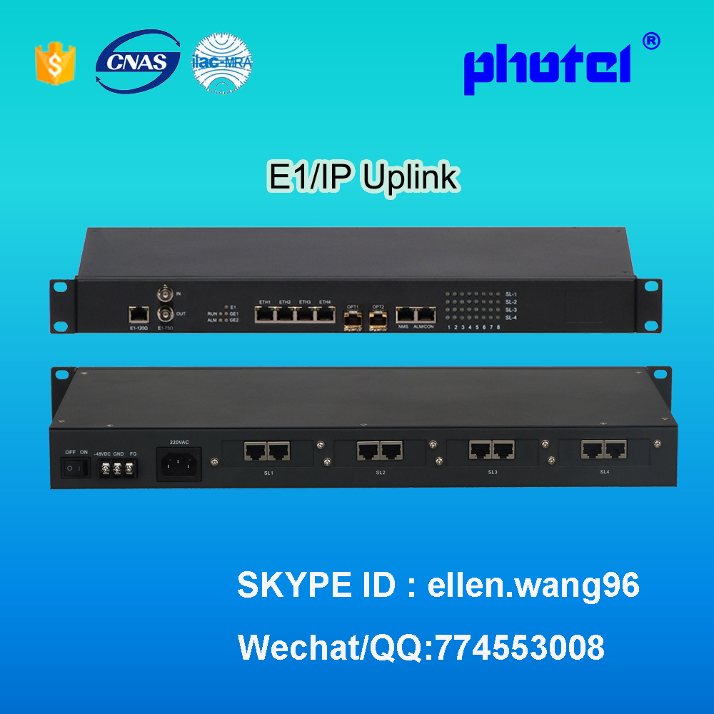 4 Fast Ethernet + 30 voice FXO FXS voice over E1 multiplexer