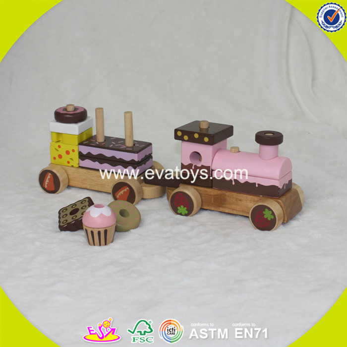 2017 wholesale wooden cake train toy pull kids wooden cake train toy cheap children wooden cake trai