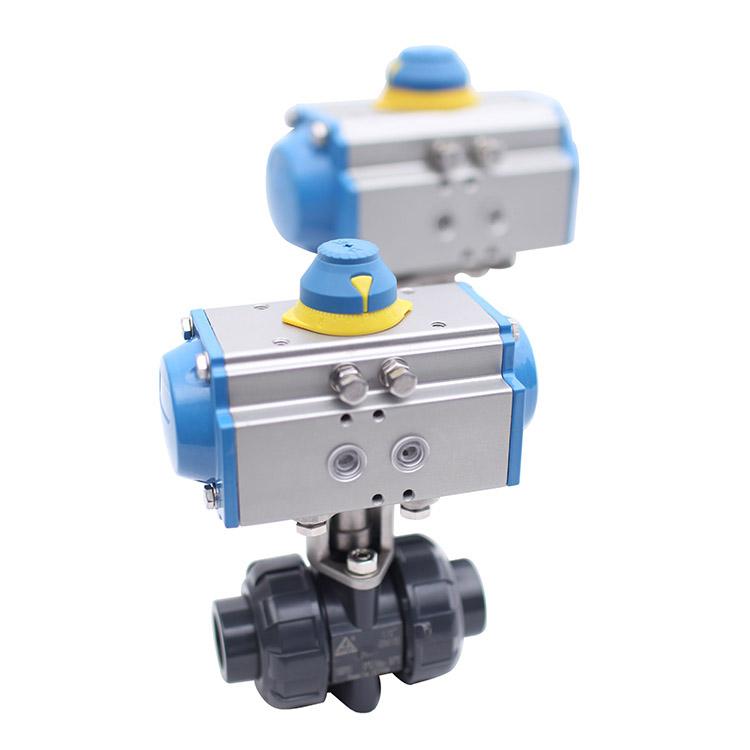 Pneumatic Actuated True Union PVC Plastic Ball Valve