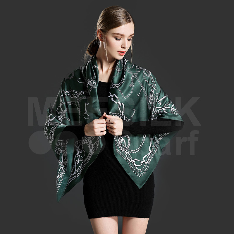 New Collection High Quality Elegant Ladies Square Scarf 100% Silk Printed Scarves