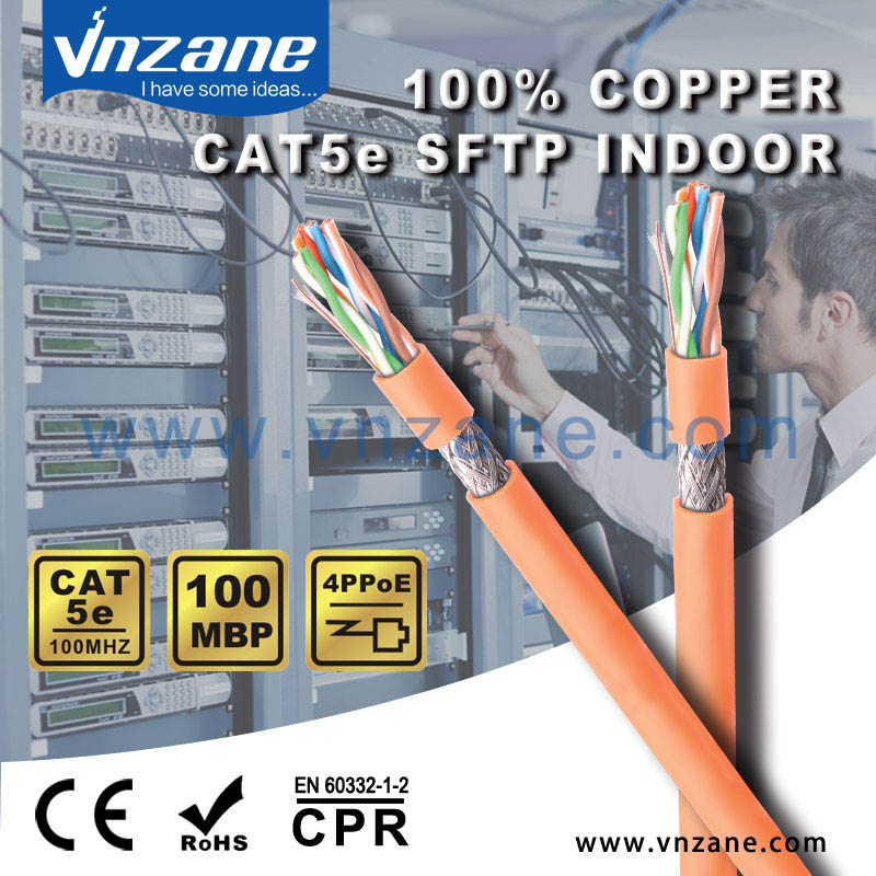 Twisted Network Cat5E SFTP Cable Solid copper 305M from China factory