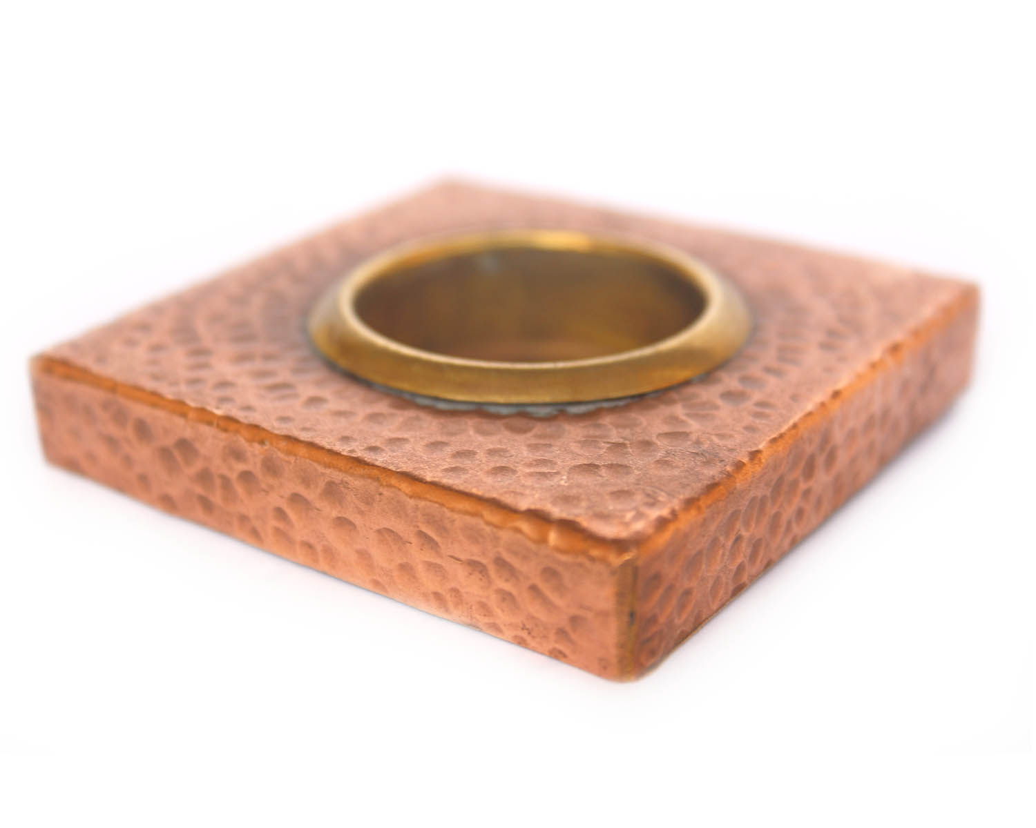 De Kulture Works Hand Made Copper and Brass Votive Holder (3x3x0.5 Inches, Brown)