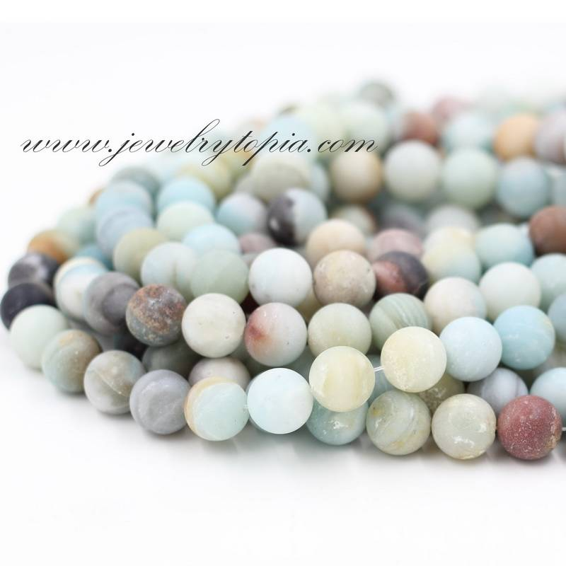 Wholesale Frosted Round Shape Multicolor Amazonite Stone Beads 4 6 8 10 12 14mm