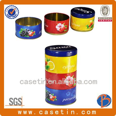 customized round shape three layers candy tin box with food grade