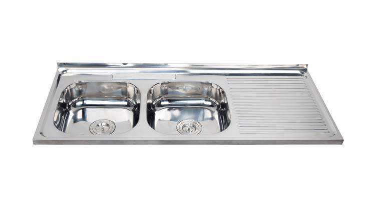 1.2 m rectangular double bowl topmount stainless steel sink WY-12050DA