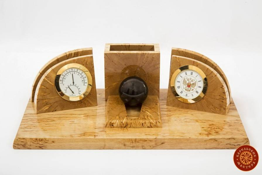 Desk writing set made of Karelian birch