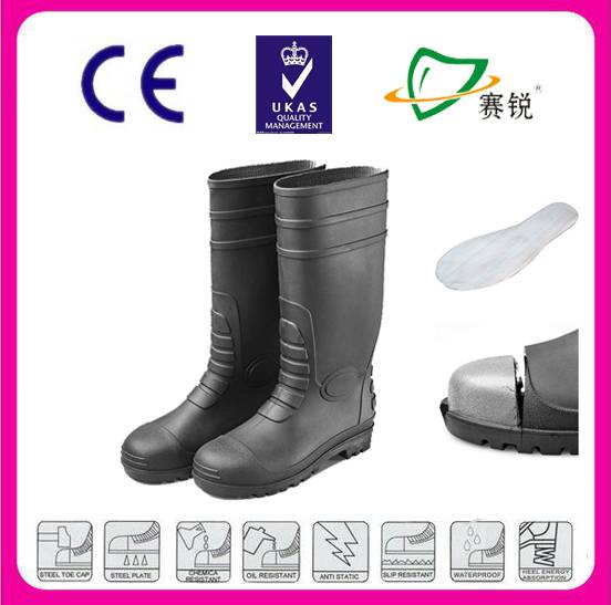 anticorrosive and anti-squashing/puncture PVC rain boots with steel toe and steel plate