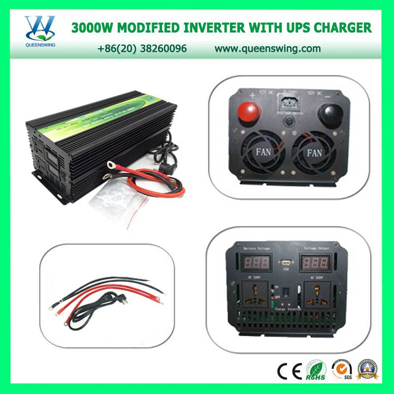 3000W DC12V to AC220V Portable Power Inverter with Charger 20A & UPS