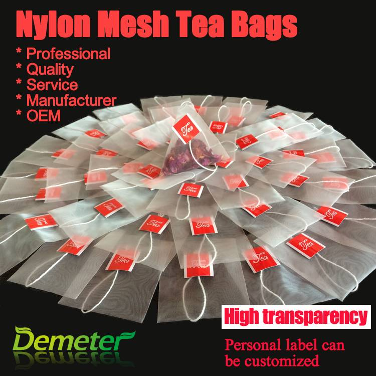 Nylon mesh filter empty pyramid tea bags hot sale