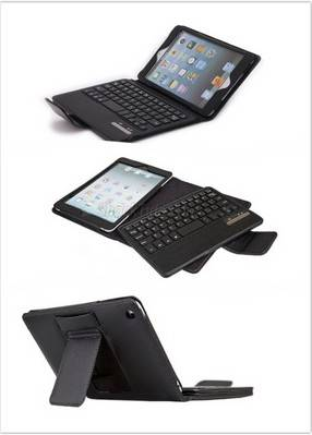 PU Leather Foilo Case with Detachable Bluetooth Keyboard for iPad Mini - Black