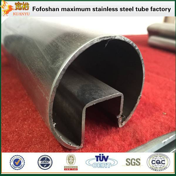 304 special type ERW stainless steel single slot pipes for glass fitting