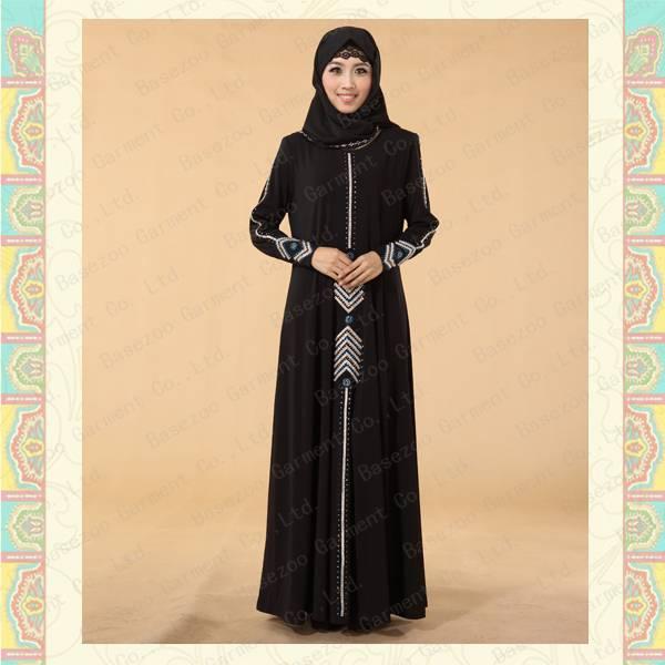 Latest fancy design hot drilled muslim black abaya MF19665