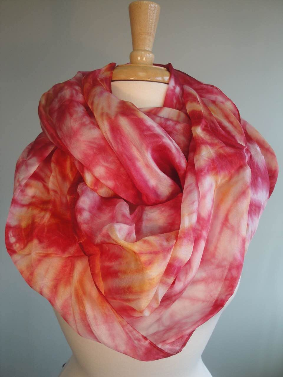 tie-dyed silk scarves