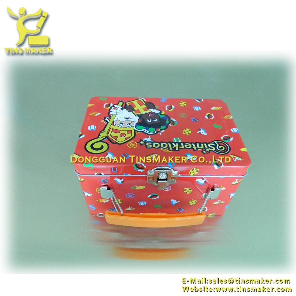christmas cotton candy lunch tin box with handle