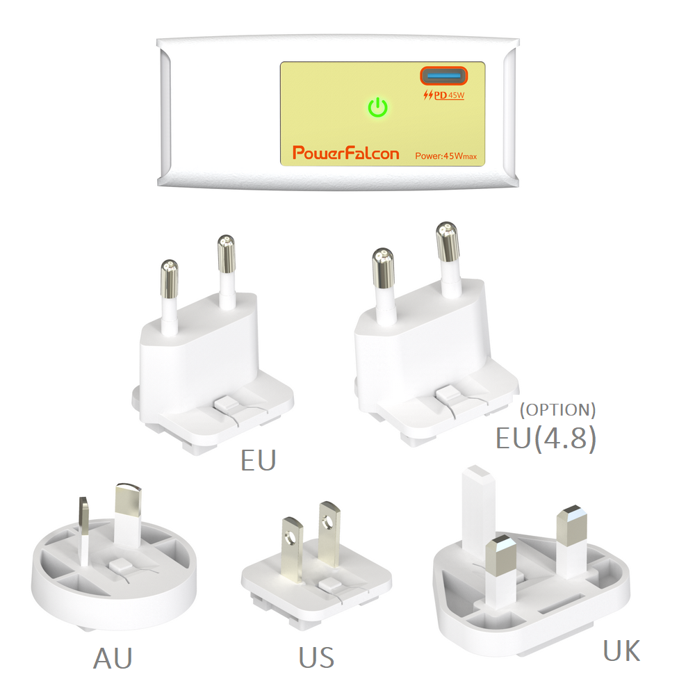 PowerFalcon 45W PD charger / interchangable