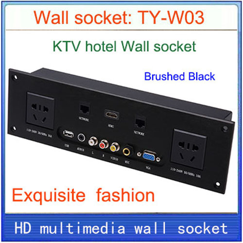 Wall socket Universal plug HDMI VGA USB Network RJ45 Video information outlet panel /multimedia home