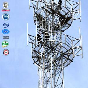 Self supporting galvanized tubular four leg communication tower