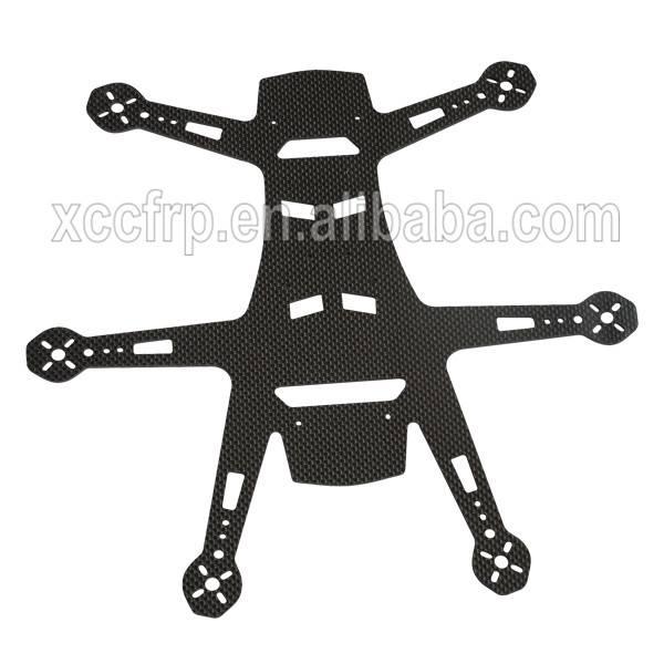 Factory precision 3K carbon fiber sheet CNC machining frame for hobby/UAV/helicopter/aircraft drones