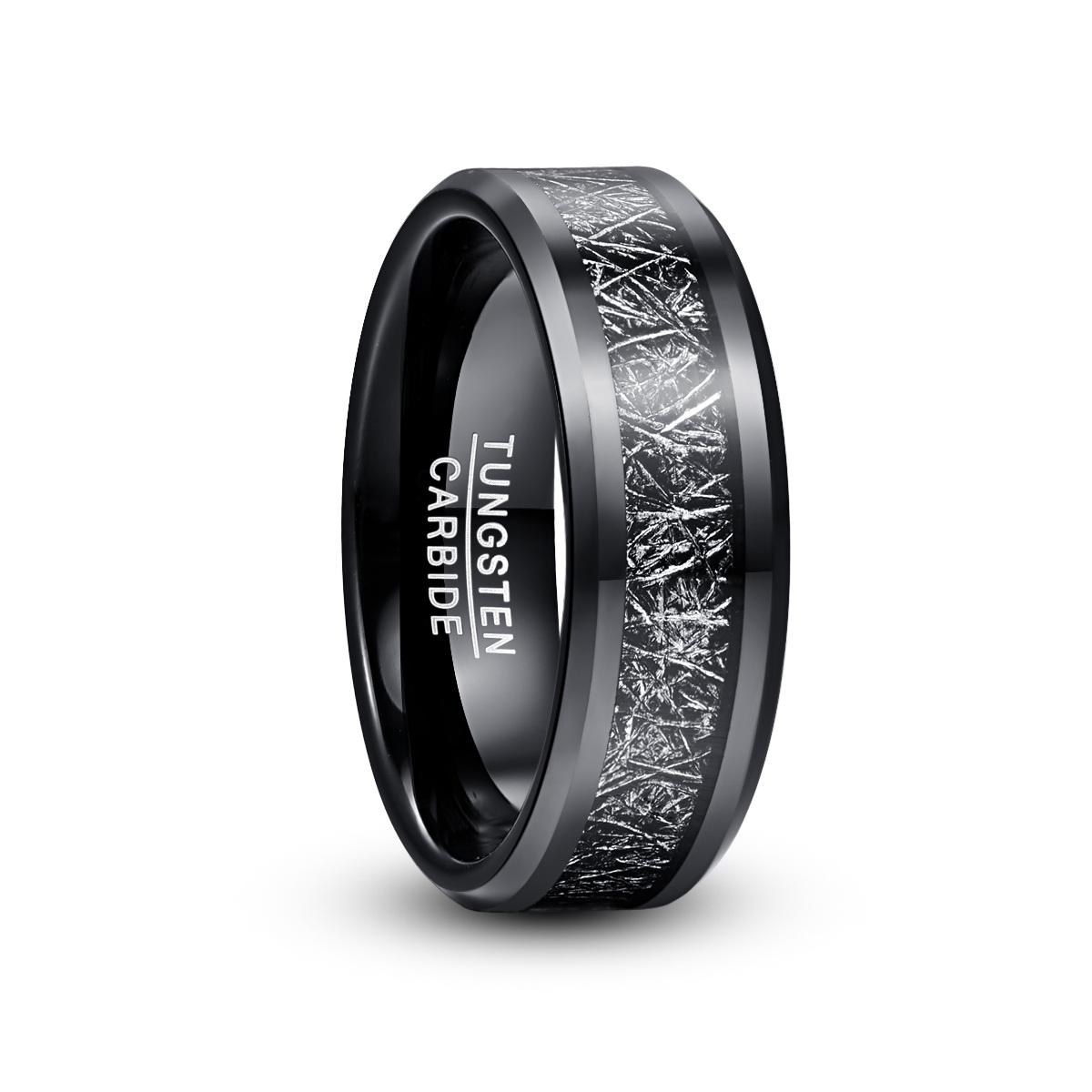 2019 8mm Width Men's Tungsten Carbide Ring Electroplated Black Inlaid Black Imitation Vermiculite