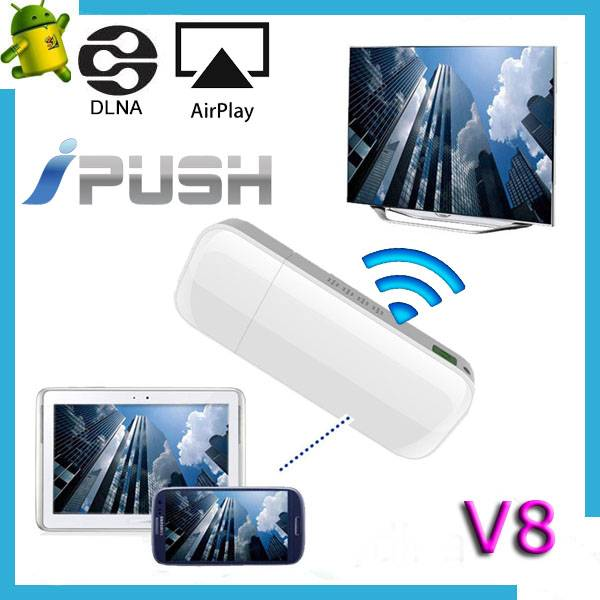 2014 the best selling dlna airplay dongle v8 iPush easily share the content of your device to the la