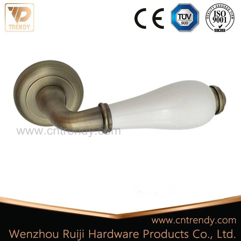 White Ceramic Door Lever Handle with Big Round Butt (Z6363-ZR05)